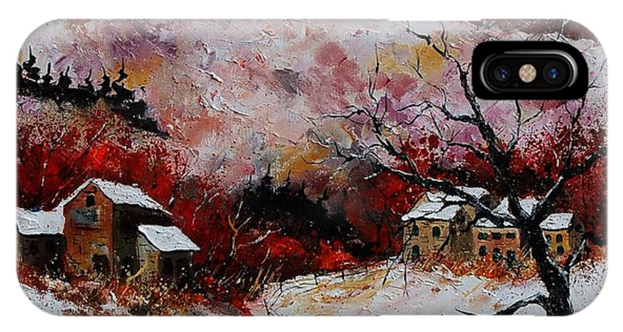 Snow IPhone X Case featuring the painting Snow In The Ardennes 78 by Pol Ledent