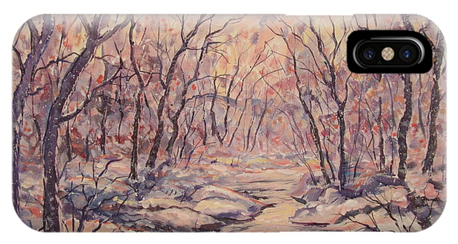 Landscape IPhone X Case featuring the painting Snow In The Woods. by Leonard Holland