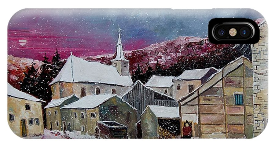 Snow IPhone X Case featuring the painting Snow Is Falling by Pol Ledent