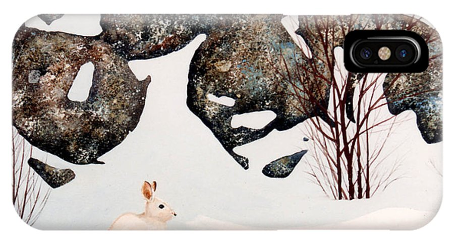Wildlife IPhone X Case featuring the painting Snow Ledges Rabbit by Frank Wilson