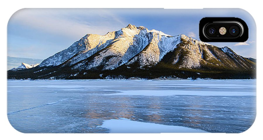 Abraham Lake IPhone X Case featuring the photograph Snow Line by Michael Blanchette