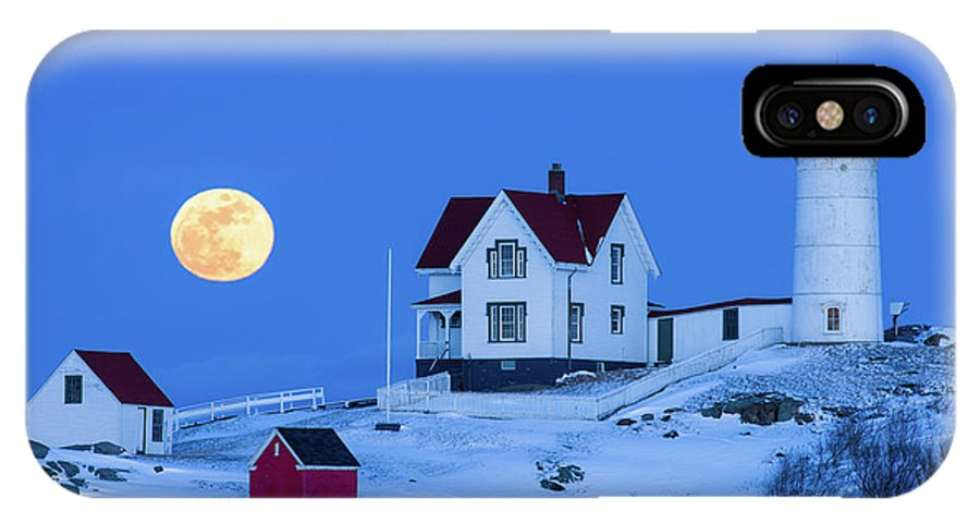 Cape Neddick IPhone X Case featuring the photograph Snow Moon by Michael Blanchette