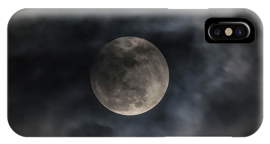 Moon IPhone X Case featuring the photograph Snow Moon On A Cloudy Night by Paula Card