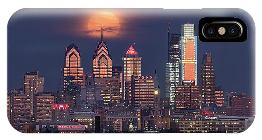 Moon IPhone X Case featuring the photograph Snow Moon Over Philadelphia by Bruce Neumann