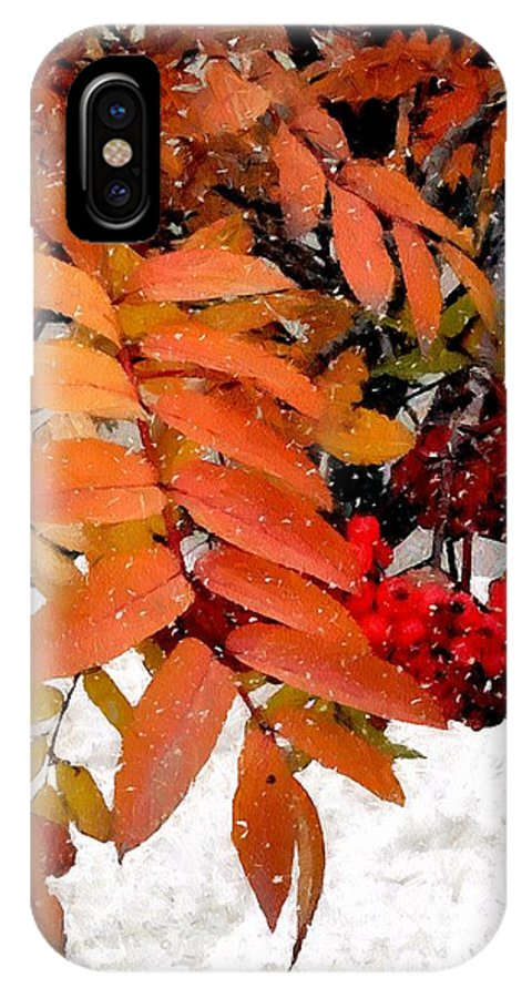Autumn IPhone X Case featuring the painting Snow On Scarlet Magick by RC DeWinter