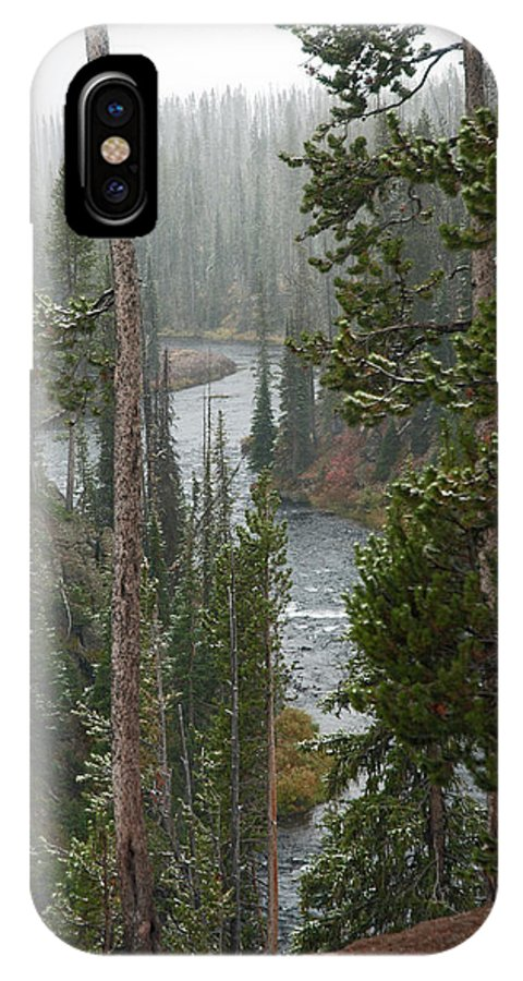 Snow IPhone X Case featuring the photograph Snow On The Yellowstone River by Gary Langley