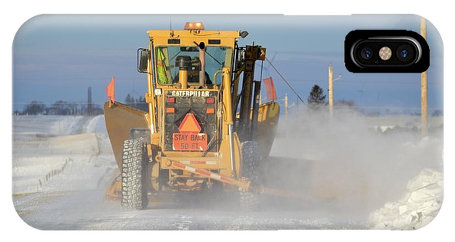 Road IPhone X Case featuring the photograph Snow Plowing by Bonfire Photography