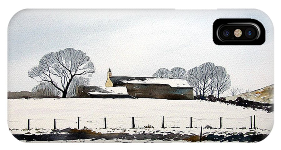 Winter Scene IPhone X Case featuring the painting Snow Scene Barkisland by Paul Dene Marlor