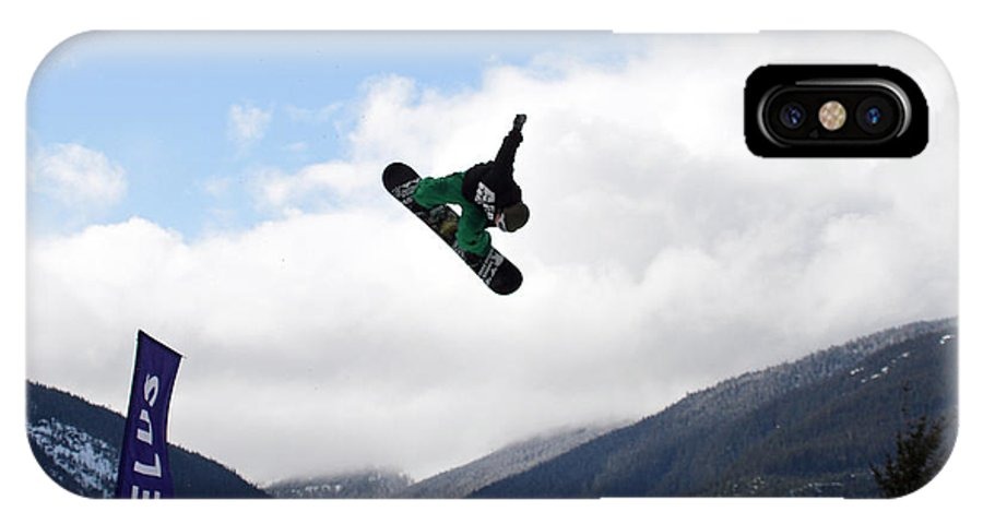 Snowboarder IPhone X Case featuring the photograph Snowboarder At The Telus Snowboard Festival Whistler 2010 by Pierre Leclerc Photography