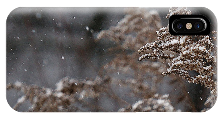 Winter IPhone X Case featuring the photograph Snowfall by Linda Shafer
