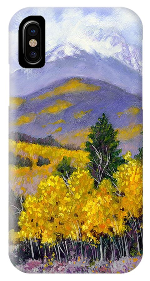 Rocky Mountains IPhone X Case featuring the painting Snowing In The Mountains by John Lautermilch