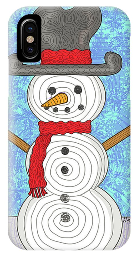 Snowman IPhone X Case featuring the digital art Snowman 2015 by Rene Lopez
