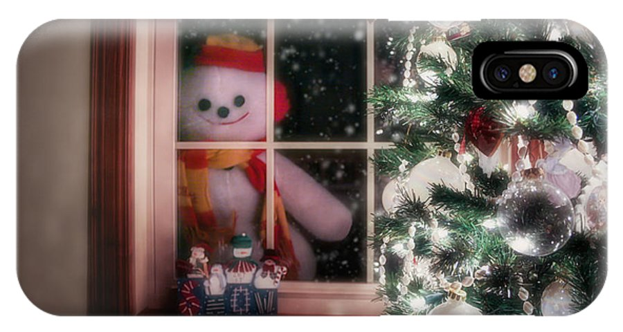 Snowman IPhone X Case featuring the photograph Snowman At The Window by Tom Mc Nemar