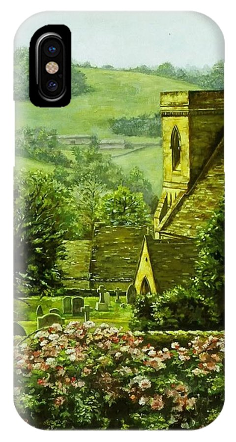 Landscape Church IPhone X Case featuring the painting Snowshill by Ruth Stromswold