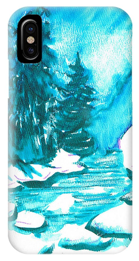 Chilling IPhone X Case featuring the mixed media Snowy Creek Banks by Seth Weaver