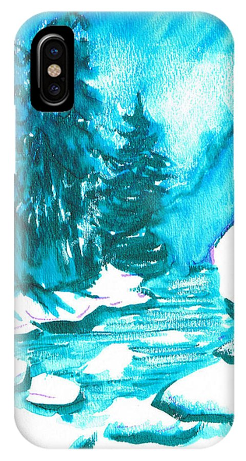 Chilling IPhone X / XS Case featuring the mixed media Snowy Creek Banks by Seth Weaver