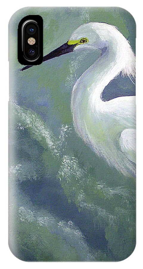 Egret IPhone X Case featuring the painting Snowy Egret In Water by Adam Johnson