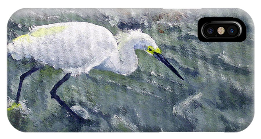 Egret IPhone X Case featuring the painting Snowy Egret Near Jetty Rock by Adam Johnson