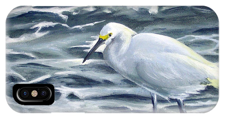 Egret IPhone X Case featuring the painting Snowy Egret On Jetty Rock by Adam Johnson