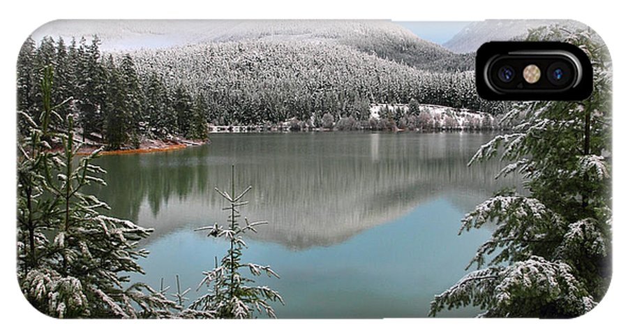 Green Lake IPhone X Case featuring the photograph Snowy Green Lake Sunset Whistler B.c Canada by Pierre Leclerc Photography