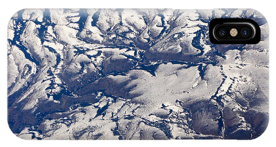 Aerial IPhone X Case featuring the photograph Snowy Landscape Aerial by Carol Groenen