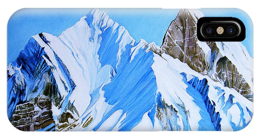 Snow IPhone X Case featuring the painting Snowy Mountain by Juan Alcantara