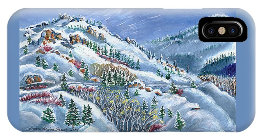 Christmas IPhone X Case featuring the painting Snowy Mountain Road by Dawn Senior-Trask