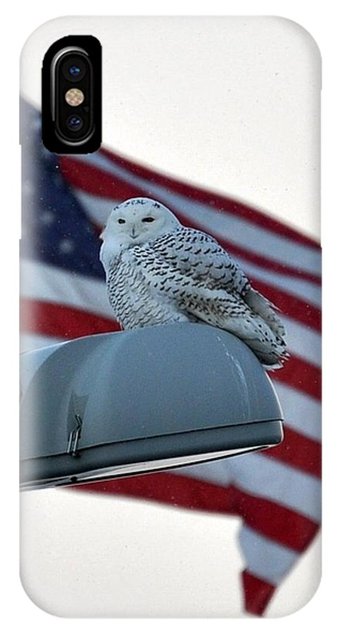 Snowy Owl IPhone X Case featuring the photograph Snowy Owl And Am Flag by Jo-Ann Matthews
