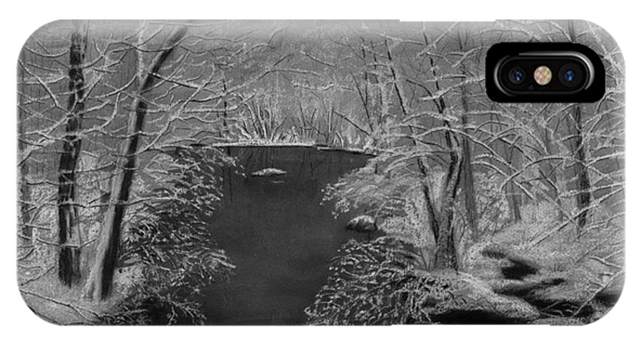 Black And White IPhone X Case featuring the painting Snowy River by Lynn Quinn