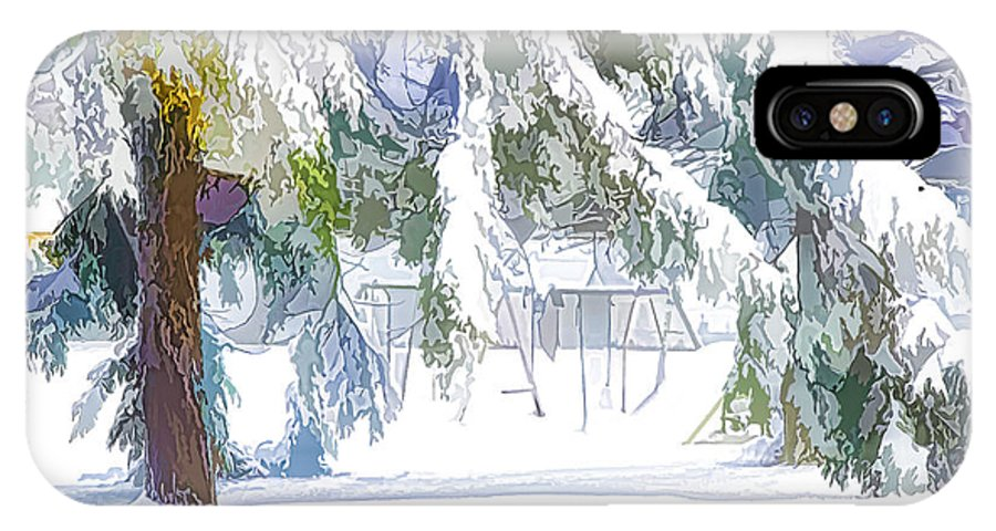 Background IPhone X Case featuring the painting Snowy Trees In Winter Landscape by Jeelan Clark