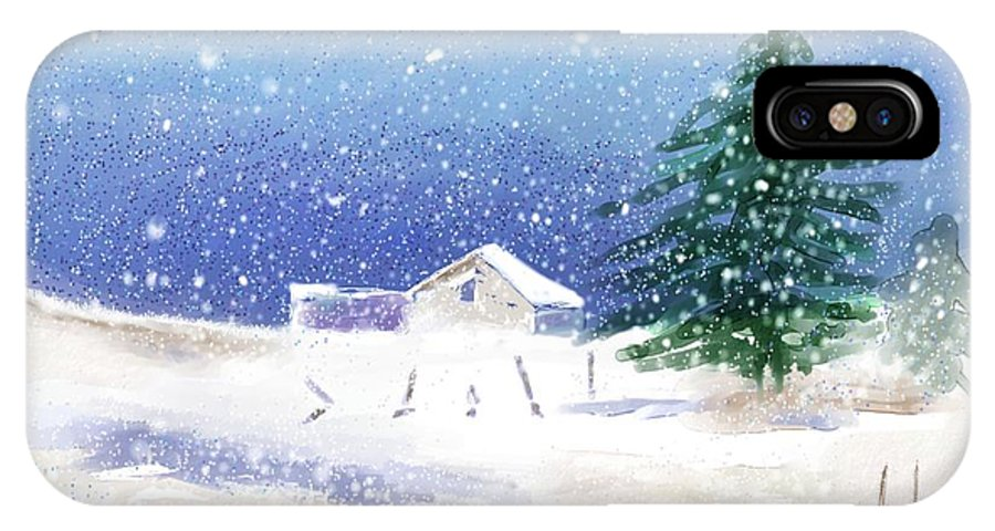 Snow IPhone X Case featuring the digital art Snowy Winter Scene by Arline Wagner
