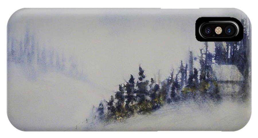 Landscape IPhone X Case featuring the painting Snowy Winter by Terry Ann Morris