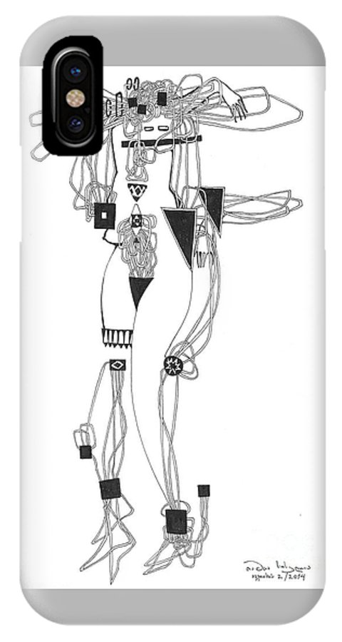 IPhone X Case featuring the drawing ,,so She Awakes And She Knows'' by Tamta Soselia