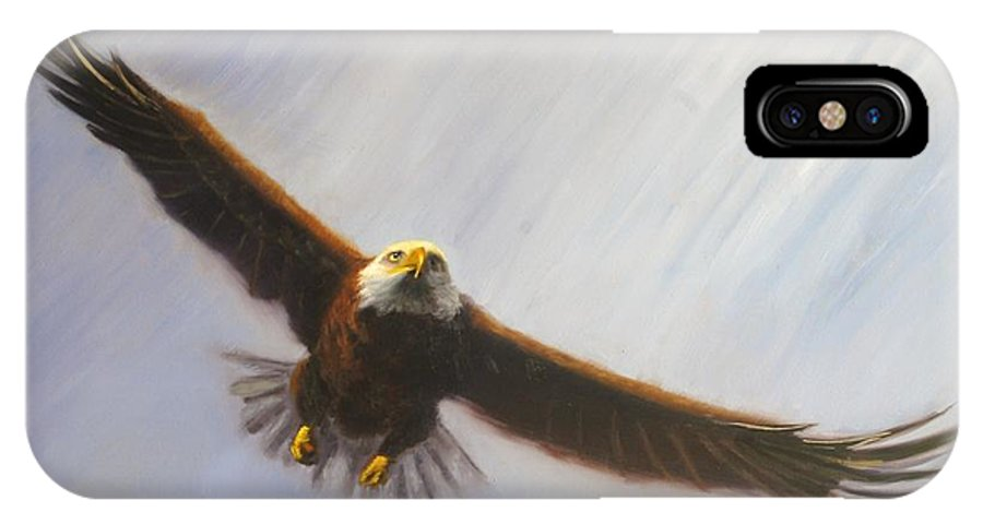 Oil IPhone X Case featuring the painting Soaring Eagle by Greg Neal