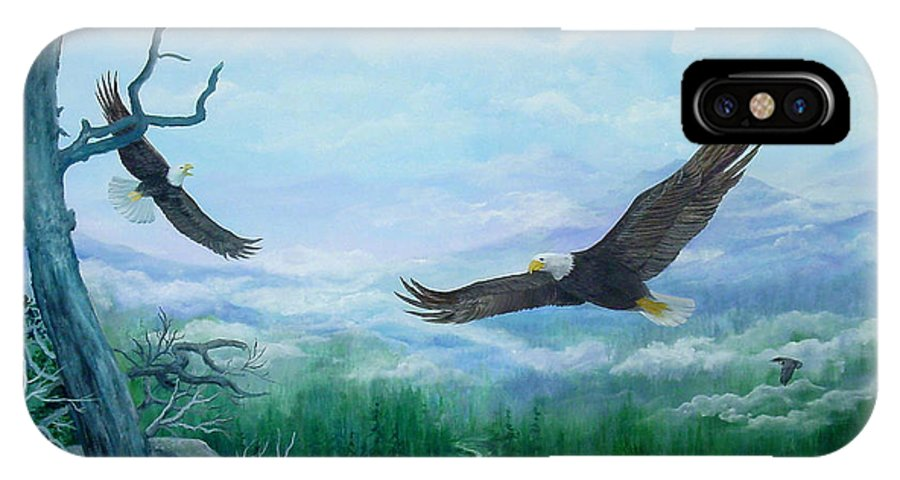 Eagles;birds;river Valley;mountains;sky; IPhone X Case featuring the painting Soaring by Lois Mountz