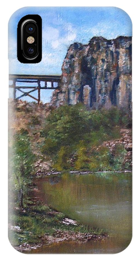 Landscape IPhone X Case featuring the painting S.O.B Caynon by Darla Joy Johnson