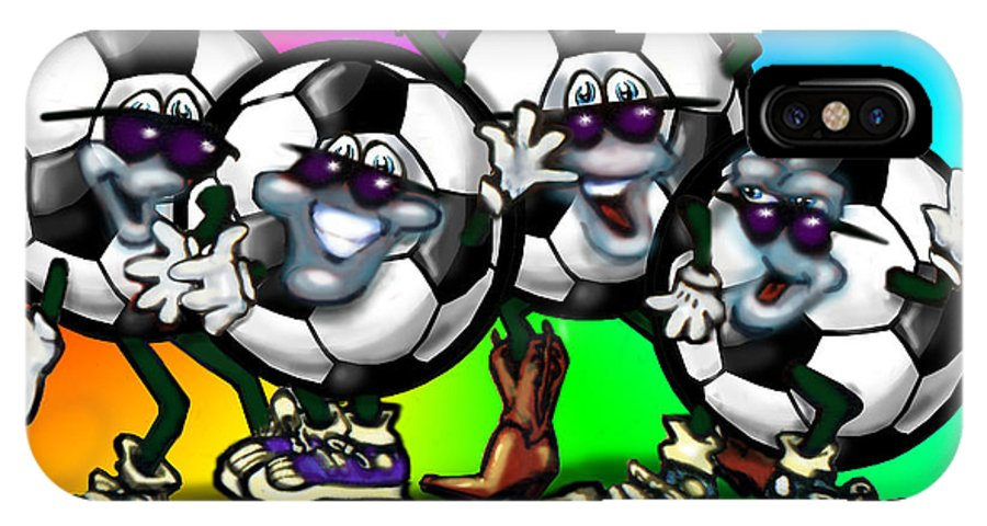 Soccer IPhone X Case featuring the digital art Soccer Party by Kevin Middleton