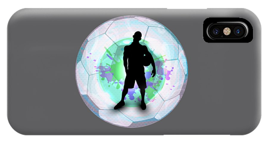 Soccer Player Posing With Ball Soccer Background Iphone X Case