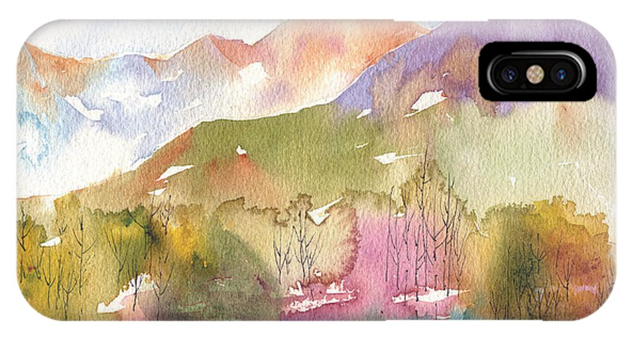 Landscape IPhone X Case featuring the painting Soft Tree Landscape by Renee Chastant