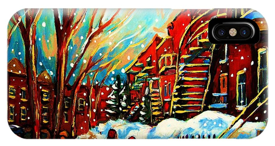 Montreal IPhone X Case featuring the painting Softly Snowing by Carole Spandau