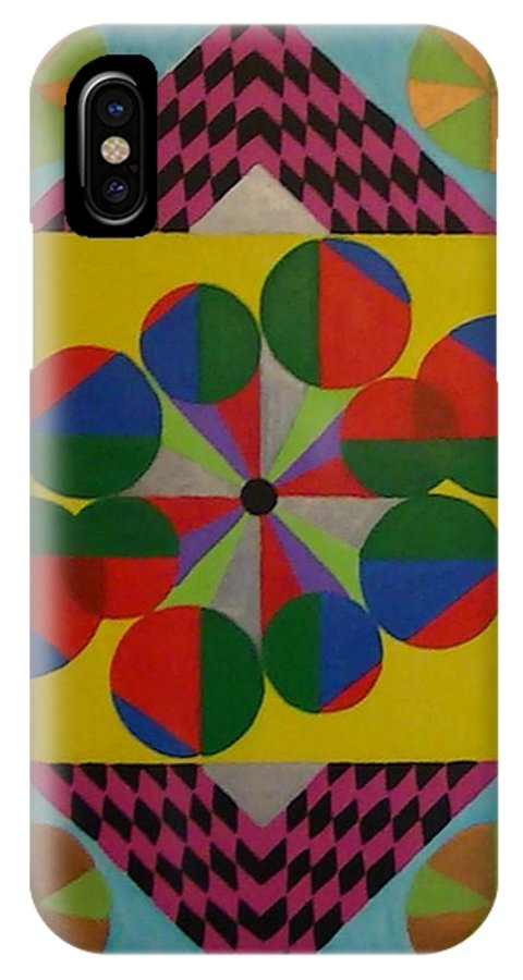 Geometric Abstract IPhone X Case featuring the painting Solar Spin by Dennis Rugtvedt