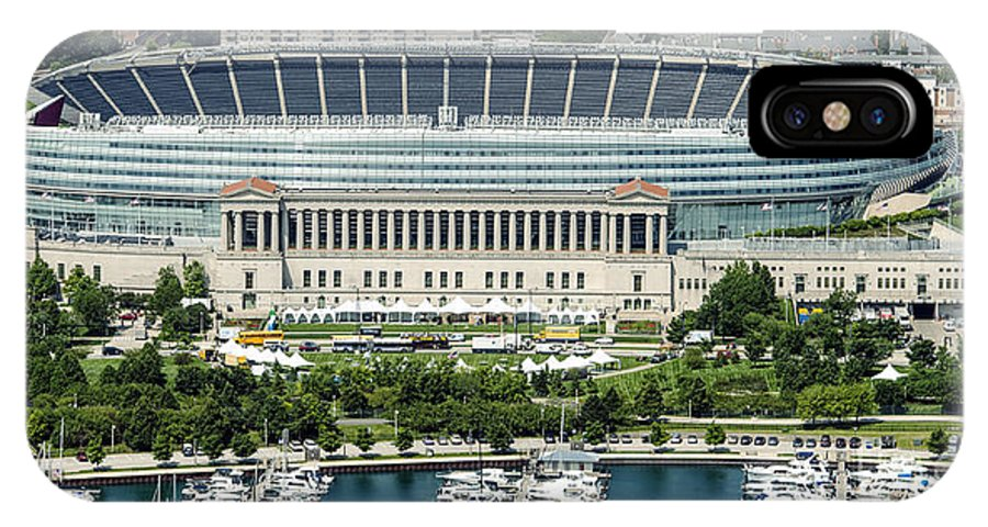 Soldier Field IPhone X Case featuring the photograph Soldier Field Stadium In Chicago Aerial Photo by David Oppenheimer