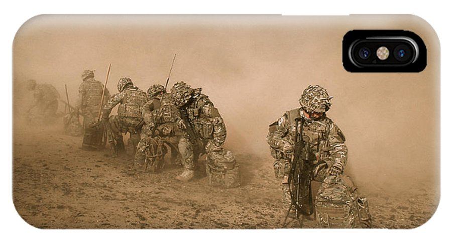 Army IPhone X Case featuring the photograph Soldiers In The Dust 2 by Roy Pedersen