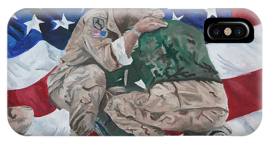 Soldiers IPhone X Case featuring the painting Soldiers by Travis Day