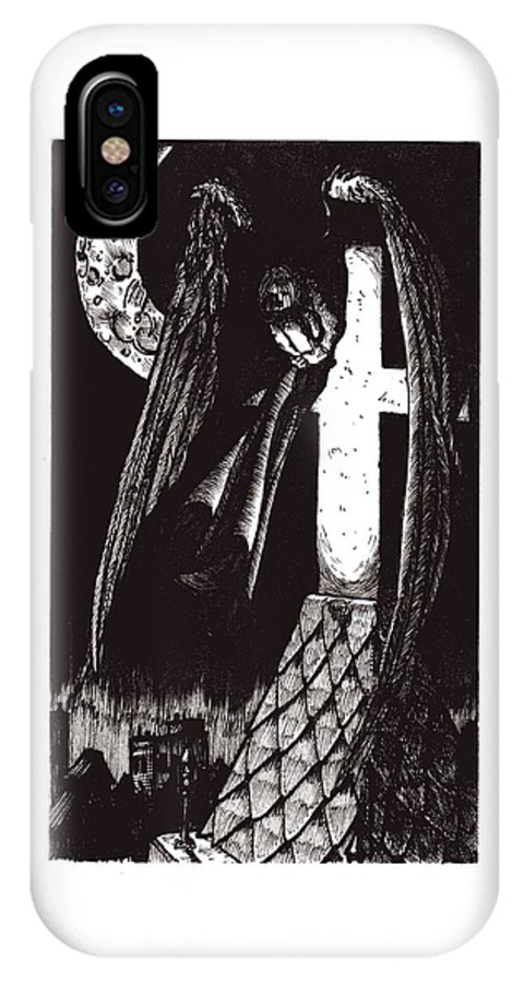 Angel IPhone X Case featuring the drawing Solemn Vigil by Tobey Anderson