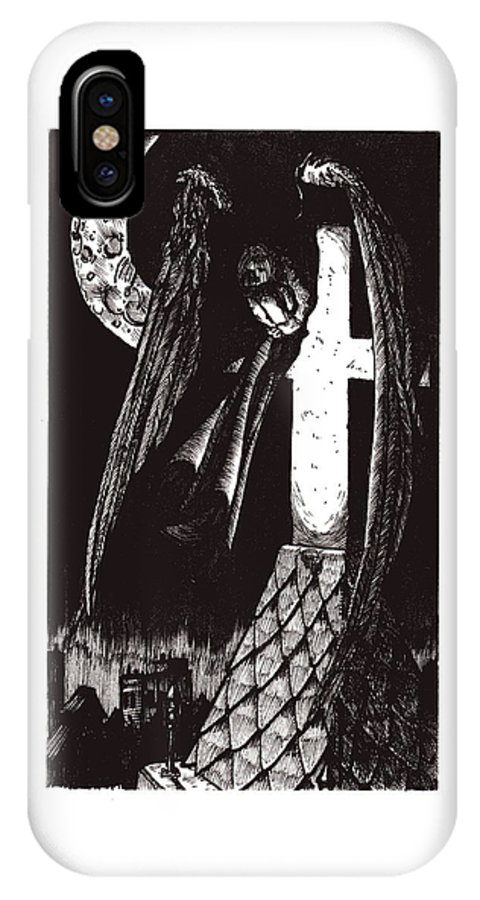 Angel IPhone Case featuring the drawing Solemn Vigil by Tobey Anderson