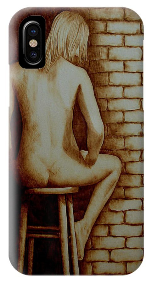 Pyrography; Woodburning; Nude; Brick; Stool IPhone Case featuring the pyrography Solitaire by Jo Schwartz