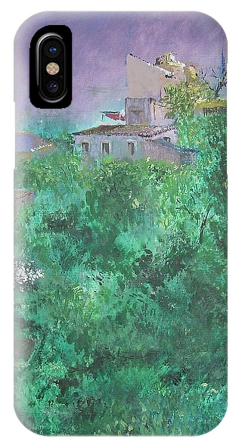 Impressionist IPhone X Case featuring the painting Solitary Almond Tree In Blossom Mallorcan Valley by Lizzy Forrester