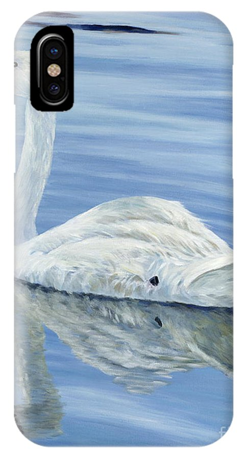 Swan IPhone X Case featuring the painting Solitary Swan by Danielle Perry