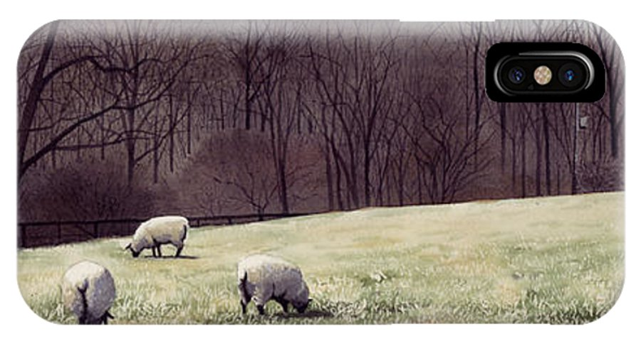 Sheep IPhone X Case featuring the painting Solitude by Denny Bond